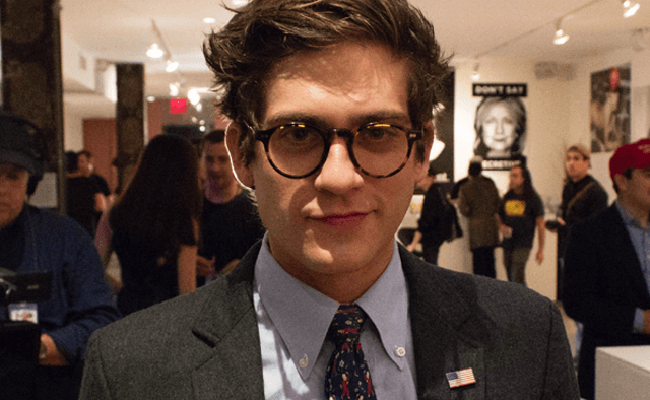 Twinks For Trump founder Lucian Wintrich arrested during 'It's OK to be white' speech