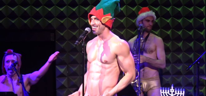 Broadway star Nick Adams strips completely naked on-stage for an x-rated festive performance