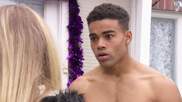 Hollyoaks actor Malique Thompson-Dwyer gives viewers an eyeful