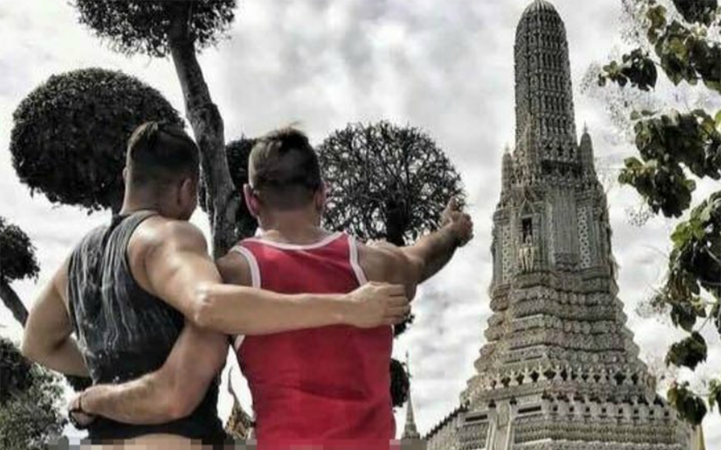 Gay Instagram couple arrested after baring bums at Thai temple