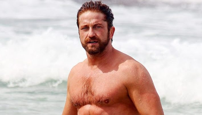 Gerard Butler's Wetsuit Clings to his Bulge