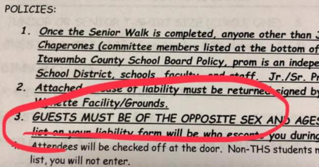 Mississippi High School Stipulates That Students Can Only Bring Date of Opposite Sex