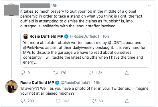 LGBT+ Labour demands 'swift action' after MP Rosie Duffield targets group with bitter attack