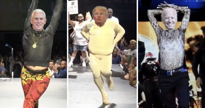 Trump and Biden face off on a ballroom runway in viral video