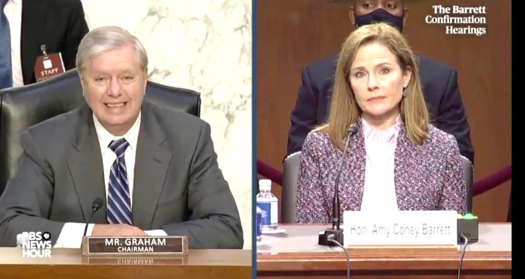Lindsey Graham Thrashed for Linking Marriage Equality to Polygamy in Questioning of Amy Coney Barrett: WATCH